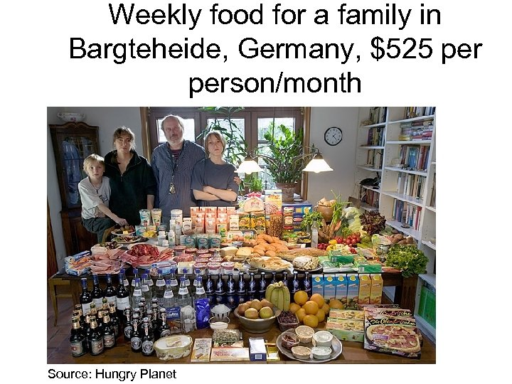 Weekly food for a family in Bargteheide, Germany, $525 person/month Source: Hungry Planet