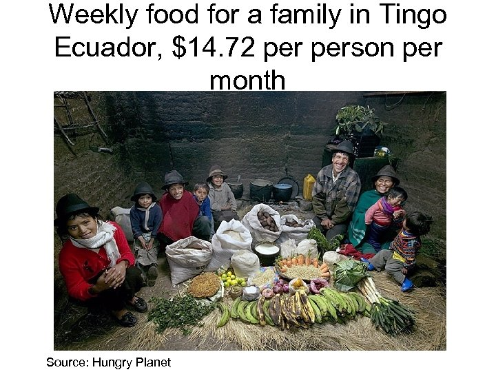 Weekly food for a family in Tingo Ecuador, $14. 72 person per month Source: