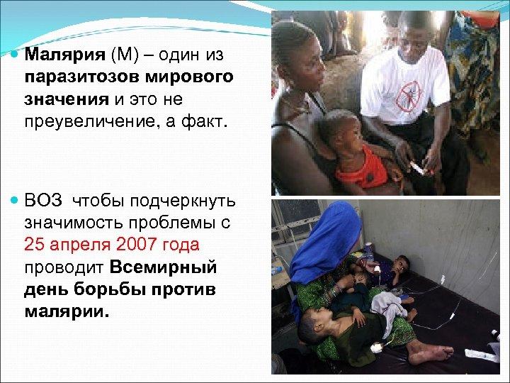Малярия (М) – один из паразитозов мирового значения и это не преувеличение, а