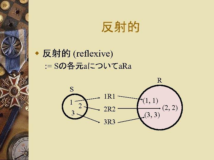 反射的 w 反射的 (reflexive) : = Sの各元aについてa. Ra R S 1 2 3 1