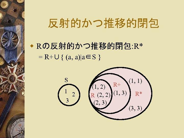 反射的かつ推移的閉包 w Rの反射的かつ推移的閉包: R* = R+∪{ (a, a)|a∈S } S 1 2 3 (1,