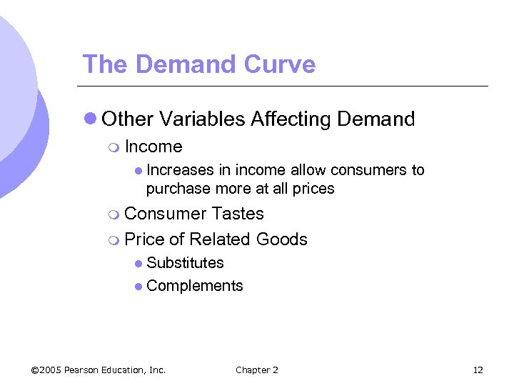The Demand Curve l Other Variables Affecting Demand m Income l Increases in income