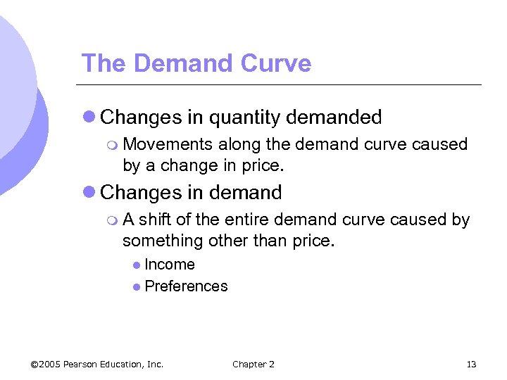 The Demand Curve l Changes in quantity demanded m Movements along the demand curve