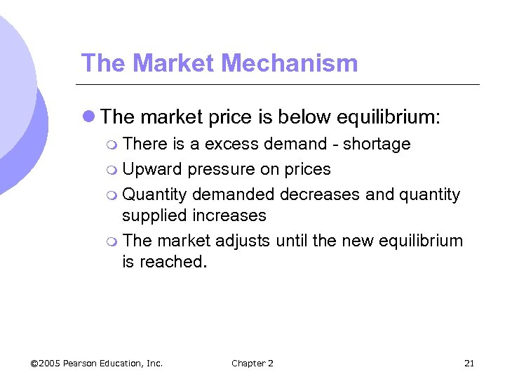 The Market Mechanism l The market price is below equilibrium: m There is a
