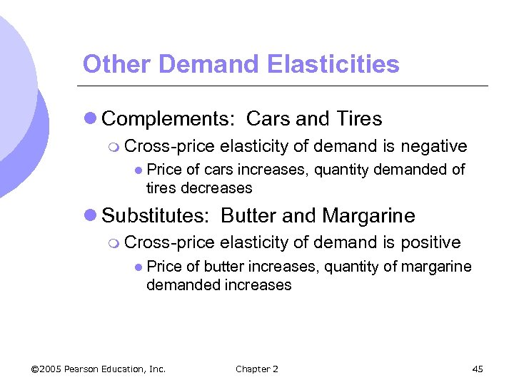 Other Demand Elasticities l Complements: Cars and Tires m Cross-price elasticity of demand is