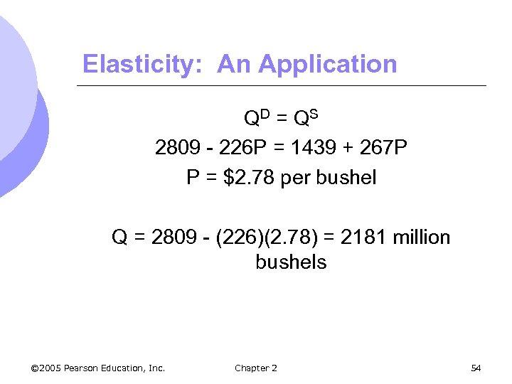 Elasticity: An Application QD = Q S 2809 - 226 P = 1439 +