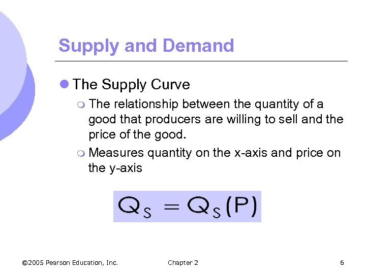Supply and Demand l The Supply Curve m The relationship between the quantity of