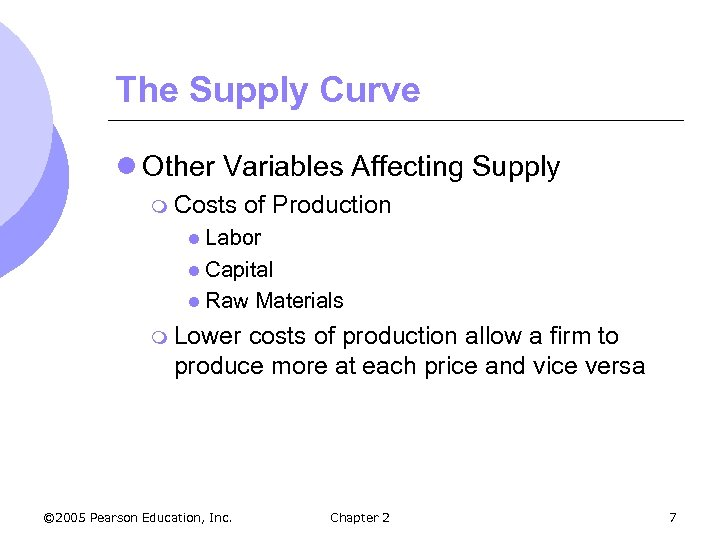 The Supply Curve l Other Variables Affecting Supply m Costs of Production l Labor
