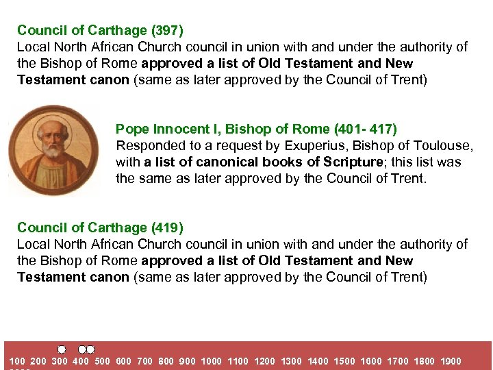 Council of Carthage (397) Local North African Church council in union with and under