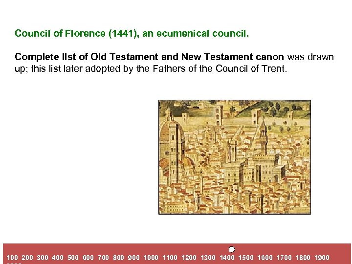 Council of Florence (1441), an ecumenical council. Complete list of Old Testament and New