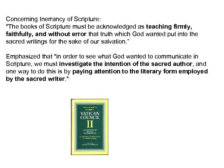 Concerning Inerrancy of Scripture: