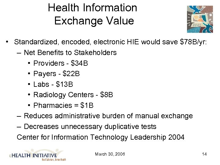 Health Information Exchange Value • Standardized, encoded, electronic HIE would save $78 B/yr: –