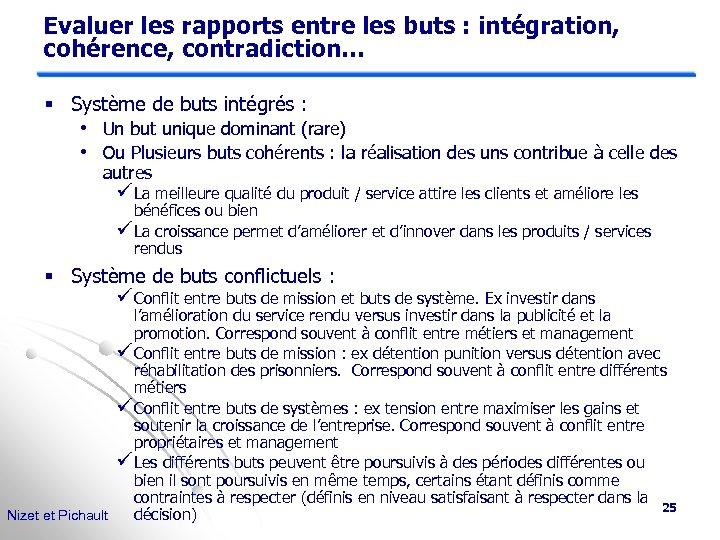 Evaluer les rapports entre les buts : intégration, cohérence, contradiction… § Système de buts
