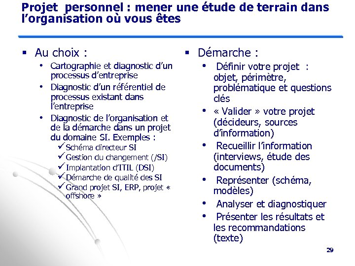 Projet personnel : mener une étude de terrain dans l'organisation où vous êtes §