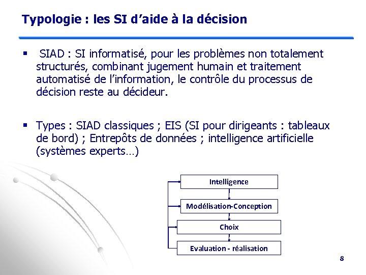 Typologie : les SI d'aide à la décision § SIAD : SI informatisé, pour