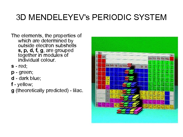 3 D MENDELEYEV's PERIODIC SYSTEM The elements, the properties of which are determined by