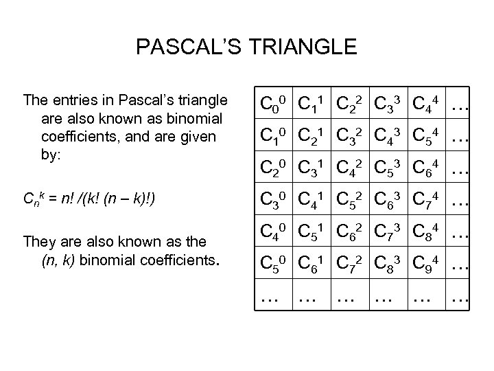 PASCAL'S TRIANGLE The entries in Pascal's triangle are also known as binomial coefficients, and