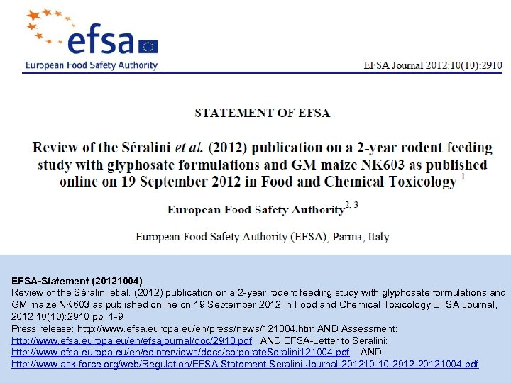 EFSA-Statement (20121004) Review of the Séralini et al. (2012) publication on a 2 -year