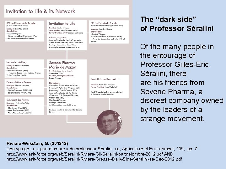 "The ""dark side"" of Professor Séralini Of the many people in the entourage of"
