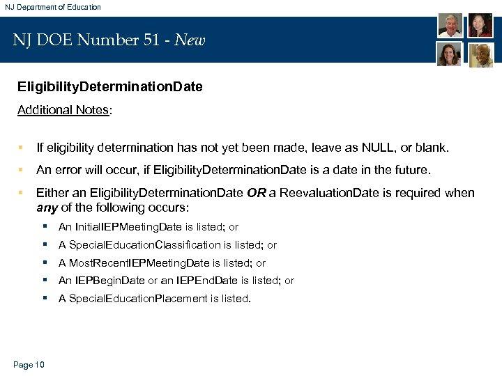 NJ Department of Education NJ DOE Number 51 - New Eligibility. Determination. Date Additional