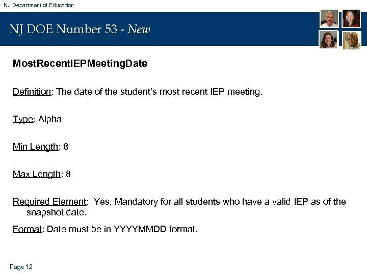 NJ Department of Education NJ DOE Number 53 - New Most. Recent. IEPMeeting. Date