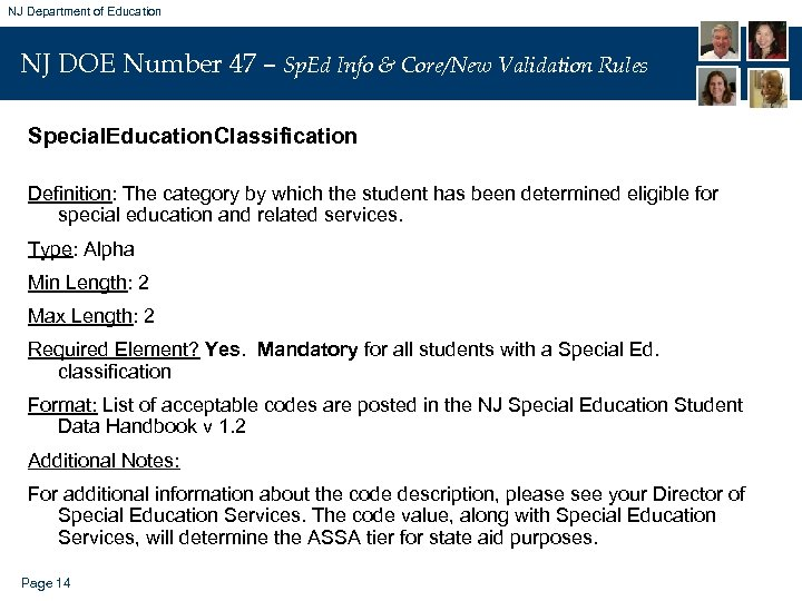 NJ Department of Education NJ DOE Number 47 – Sp. Ed Info & Core/New