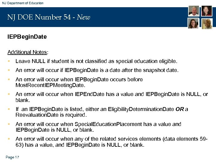 NJ Department of Education NJ DOE Number 54 - New IEPBegin. Date Additional Notes: