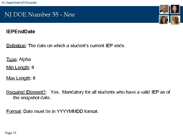 NJ Department of Education NJ DOE Number 55 - New IEPEnd. Date Definition: The