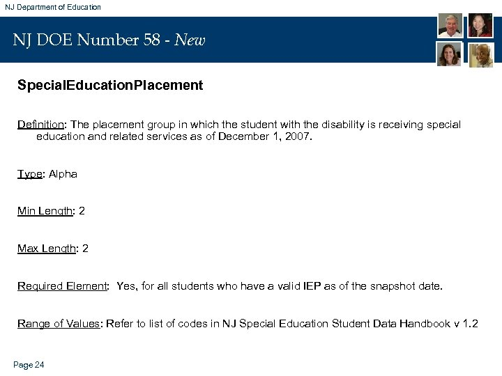 NJ Department of Education NJ DOE Number 58 - New Special. Education. Placement Definition: