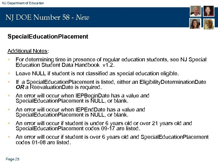 NJ Department of Education NJ DOE Number 58 - New Special. Education. Placement Additional