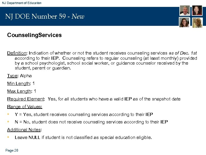 NJ Department of Education NJ DOE Number 59 - New Counseling. Services Definition: Indication