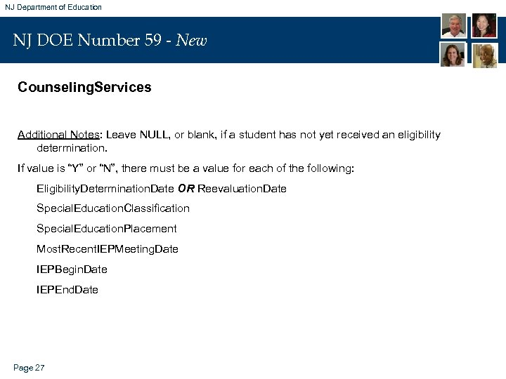 NJ Department of Education NJ DOE Number 59 - New Counseling. Services Additional Notes:
