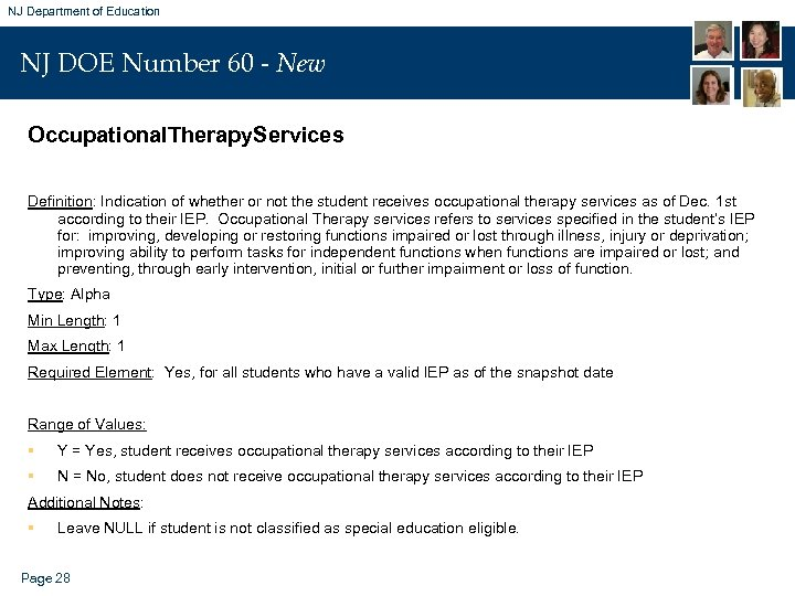 NJ Department of Education NJ DOE Number 60 - New Occupational. Therapy. Services Definition: