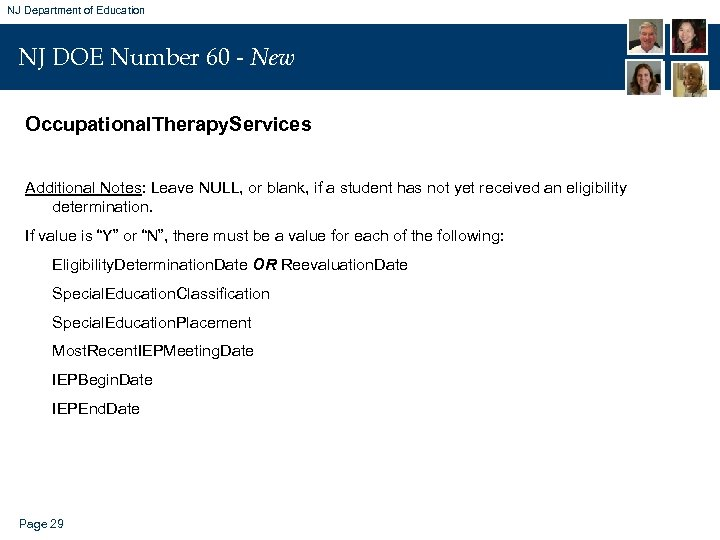 NJ Department of Education NJ DOE Number 60 - New Occupational. Therapy. Services Additional