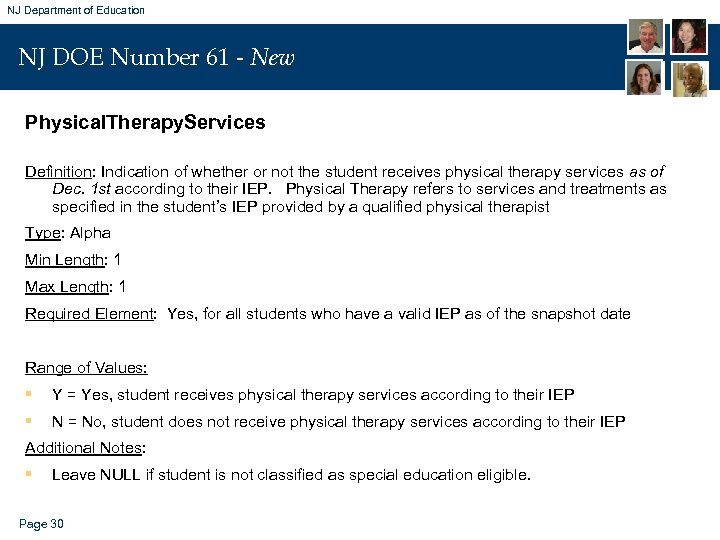 NJ Department of Education NJ DOE Number 61 - New Physical. Therapy. Services Definition: