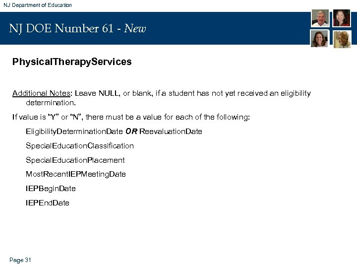 NJ Department of Education NJ DOE Number 61 - New Physical. Therapy. Services Additional