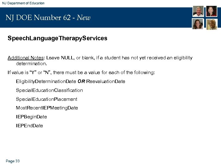 NJ Department of Education NJ DOE Number 62 - New Speech. Language. Therapy. Services