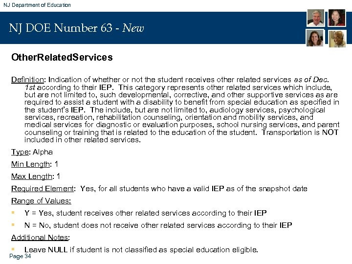 NJ Department of Education NJ DOE Number 63 - New Other. Related. Services Definition: