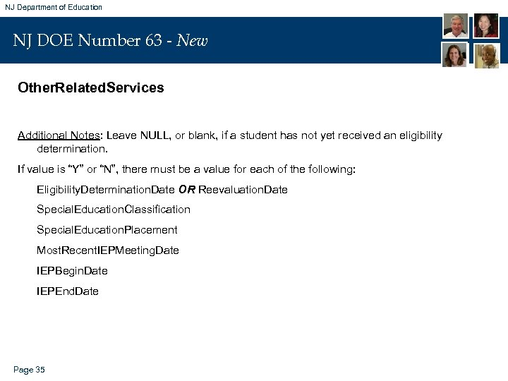 NJ Department of Education NJ DOE Number 63 - New Other. Related. Services Additional
