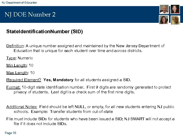 NJ Department of Education NJ DOE Number 2 State. Identification. Number (SID) Definition: A