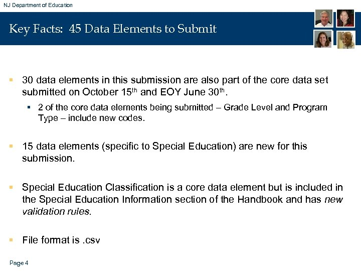 NJ Department of Education Key Facts: 45 Data Elements to Submit § 30 data