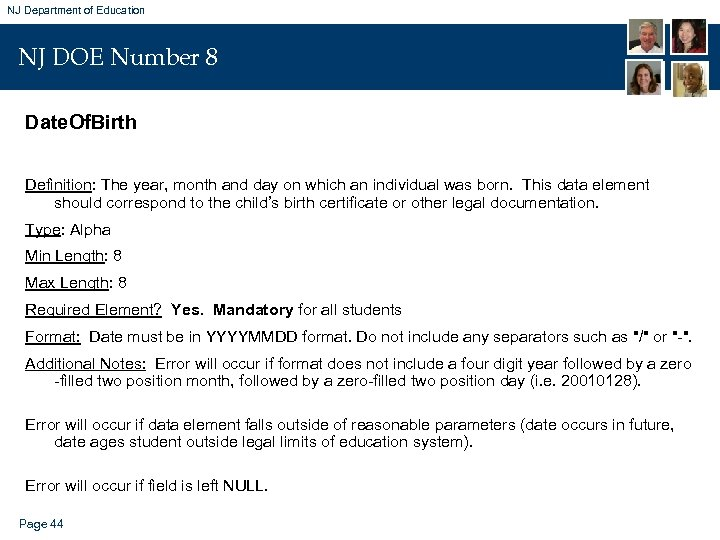NJ Department of Education NJ DOE Number 8 Date. Of. Birth Definition: The year,