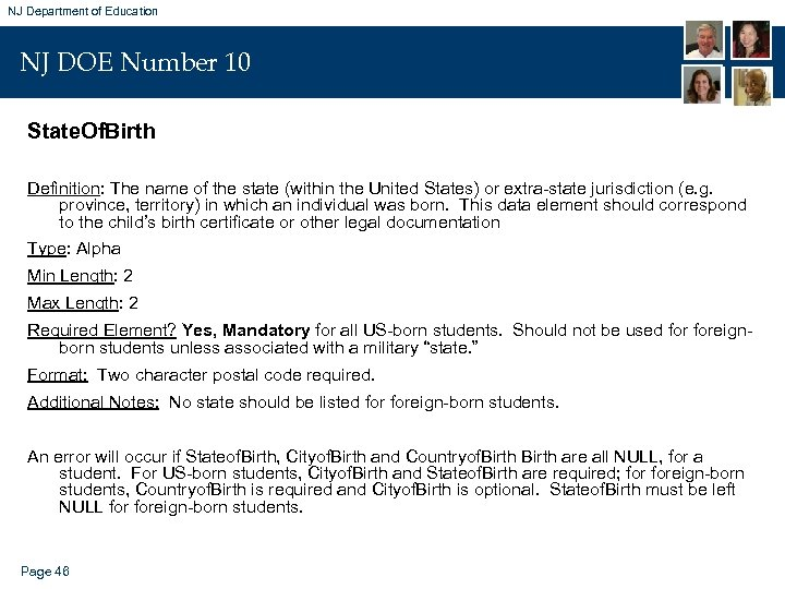 NJ Department of Education NJ DOE Number 10 State. Of. Birth Definition: The name