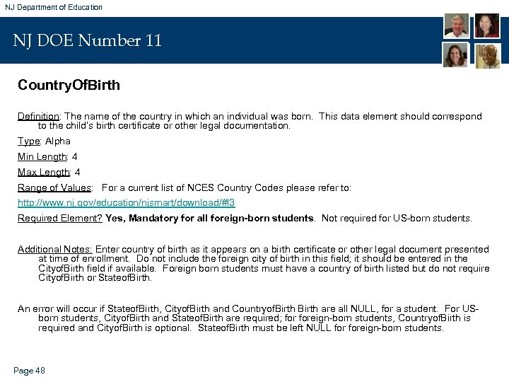 NJ Department of Education NJ DOE Number 11 Country. Of. Birth Definition: The name