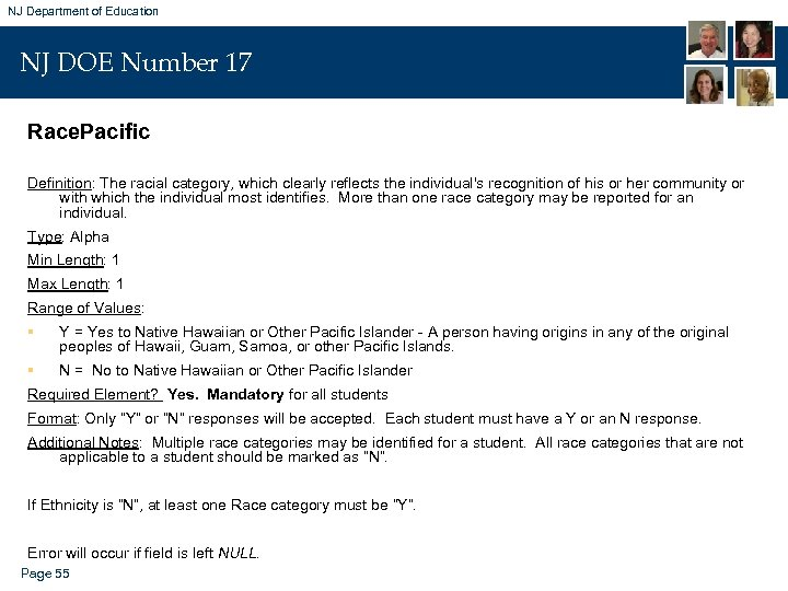 NJ Department of Education NJ DOE Number 17 Race. Pacific Definition: The racial category,