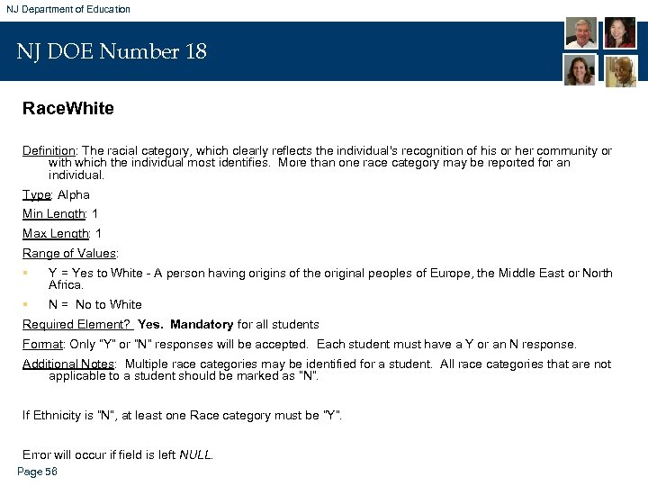 NJ Department of Education NJ DOE Number 18 Race. White Definition: The racial category,