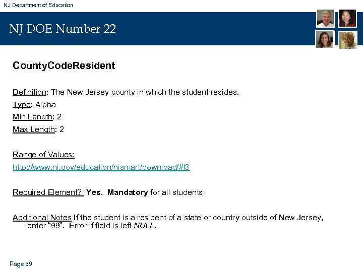 NJ Department of Education NJ DOE Number 22 County. Code. Resident Definition: The New