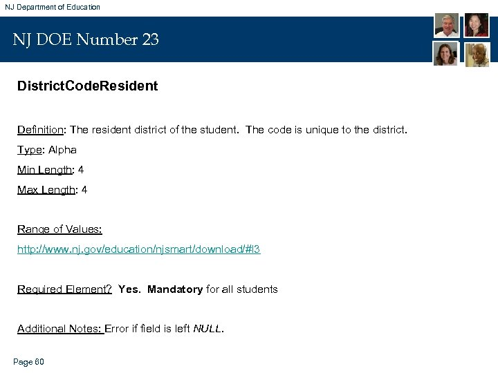 NJ Department of Education NJ DOE Number 23 District. Code. Resident Definition: The resident