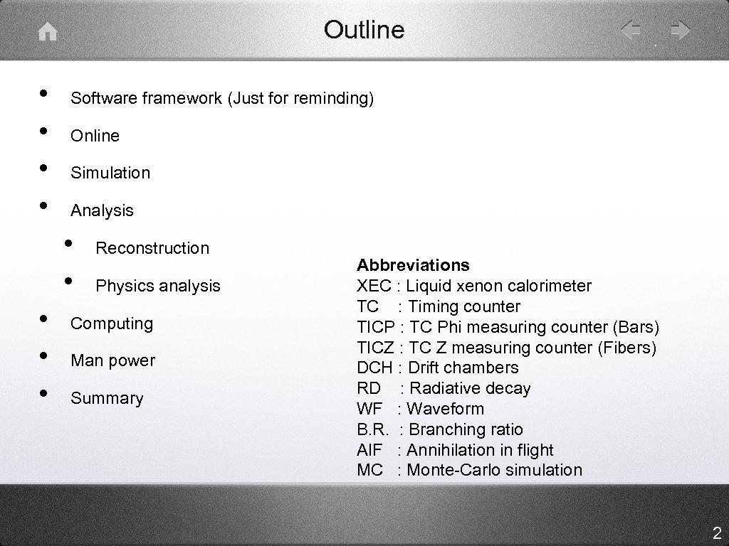Outline • • Software framework (Just for reminding) Online Simulation Analysis • • •