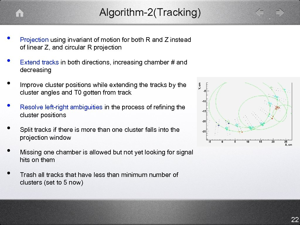 Algorithm-2(Tracking) • • Projection using invariant of motion for both R and Z instead